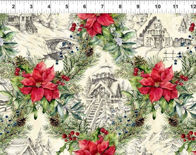 Featured listing image: Winter Chalet - Poinsettia Winter - Christmas Fabric - In The Beginning - 3APW 1 - Priced by the 1/2 yard