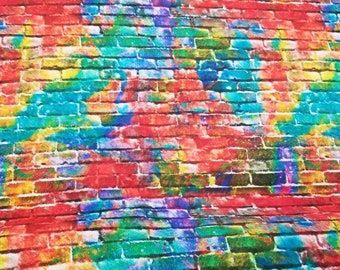 Rainbow Brick Wall - Sip N Snip by  Connie Haley - Fabric Edition 3 Wishes - 14907 Multi - Priced by the 1/2 yard