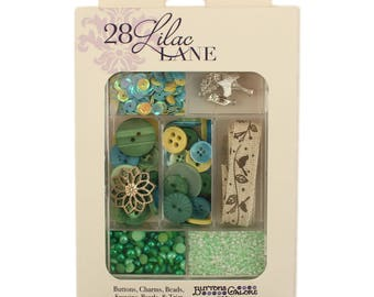 Embellishment Kit, Buttons Galore, Ribbon & Buttons - New Leaf 28 Lilac Lane by May Flaum LL107