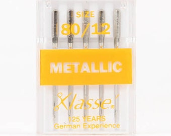 Metallic Needle - 80/12 4.0mm -  Klasse  - 5-pack - Steel A6145/80 - embroidery, sewing machine