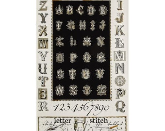Letter Stitch Fabric Panel - Alphabet Panel by Janet Wecker Frisch for Quilting Treasures 24053 J Black - Panel 24 Inch