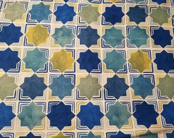 Azuli by Julie Paschkis for In The Beginning - Square in Square Tile (Stars) - 4JPG Blue - Priced by the 1/2 yard