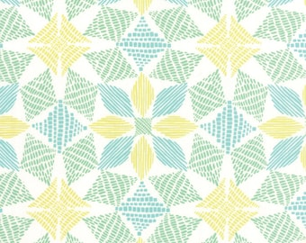Canyon Fabric - Canyon Basket by Kate Spain for Moda Fabrics 27224 13 Sand - White & Aqua - Priced by the Half Yard