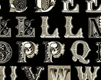 Letter Stitch Fabric  - Antique Typography by Janet Wecker Frisch for Quilting Treasures 24056 J Black - Priced by 12 inch block