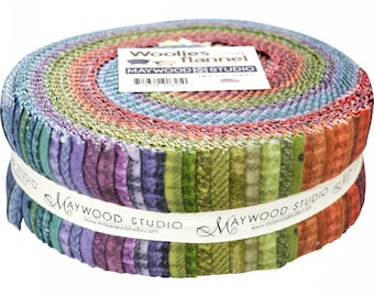 "Woolies Flannel - Cotton Flannel - Maywood Studios  Bonnie Sullivan - 2.5"" Strips (40pcs) - Jelly Roll Precut"