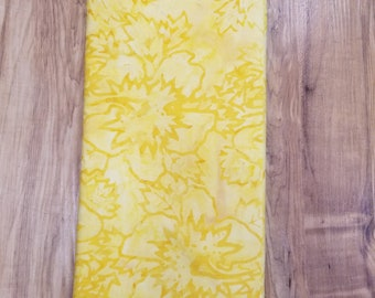 Yellow Wash Leaf Batik Fabric - Artisan Indonesian from Majestic Batiks - CB 426 Yellow, Priced by the 1/2 yard