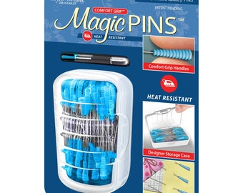 Quilting Pins - Magic Grip, Heat Resistant, Comfort Grip - 1-3/4-inch Regular .6mm x 48mm 50ct  - Taylor Seville 17153