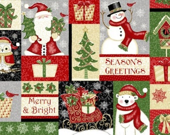 Christmas Fabric - Snowman Santa - Winter Greetings Sharla Fults Studio E Fabrics - 4212 89 Patchwork - Priced by the half yard