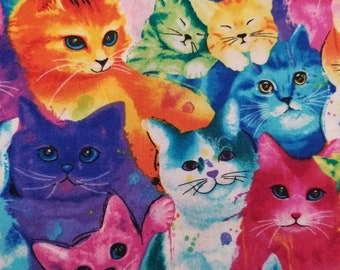 Cat Fabric - Meow Za Rainbow Cat Faces - Chong-a Hwang Timeless Treasures - 7485 multi - Priced by the half yard