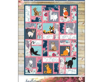 Fabulous Greek Felines - Applique & Pieced Quilt Mckay Manor Musers - DIY Pattern Only - 3 sizes baby, crib, twin