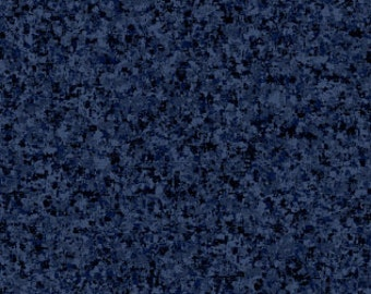 Indigo Blue Solid Textured Fabric - Quilting Treasures QT Basics Color Blender - 23528 N - Priced by the 1/2 yard