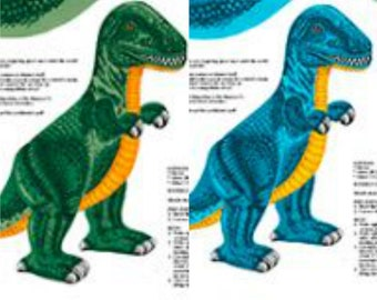 Dinosaur Stuffables - T Rex - Sew & Go - Quilting Treasures 26617 Green or Blue - Sold by the Panel - DIY stuffed animals, stuffed monster