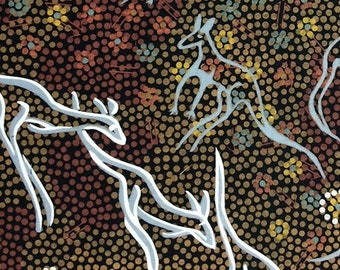 Australian Fabric - Kangaroo Fabric - Aboriginal Fabric - Kangaroo Dreaming Black by Joey Waitairie - Priced by the half yard