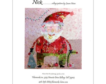 """Santa Collage - Laura Heine - Applique Quilt - Nick Christmas Collage 40x41"""" - DIY Pattern Or Kit Option - full size reusable template"""