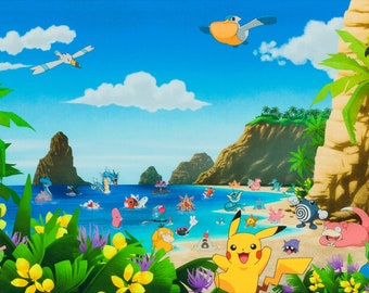 Pokémon - Lagoon Panel - Beach theme Summer Island  - Kaufman 18843 205 - Priced by the 26-Inch Panel