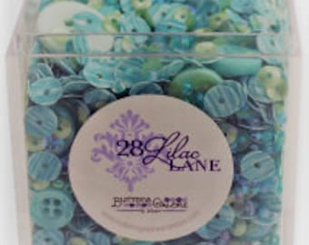 Shaker Mix Box - Sequins Seed Bead Buttons - 28 Lilac Lane Buttons Galore - Seaglass  LL503 (Turquoise) - Per box