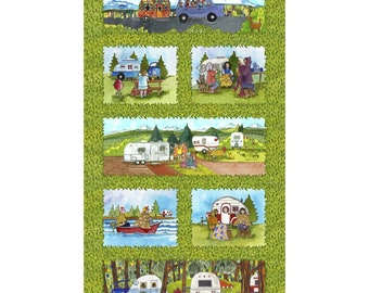 Quilters Road Trip - Panel scenes -  Kathy Deggendorfer for Maywood Studio - MAS 9190 Green - Priced by the 24-inch panel