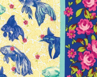 Gold fish Fabric - Tokyo milk Neptune & The Mermaid by Margot Elena Collection - Free Spirit Fabric  PWTM003 8 BLUE - Priced by the 1/2 yd
