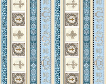 Cross Fabric - Heavenly Stripe - Stained Glass, Harp  - Dan Morris for Quilting Treasures - 24569 B Light Blue - Priced by the Half Yard