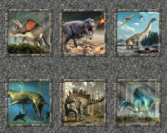 Jurassic Fabric - Dinosaur 6-Patch Panel - T-Rex Fabric - In the Beginning Fabric - 2JUR1 - Priced by the 36-Inch Panel