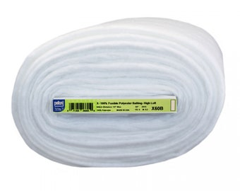 """Pellon Quilter's Touch High Loft Fusible Polyester Batting - 60"""" White - PELX 60B - Priced by the half yard"""
