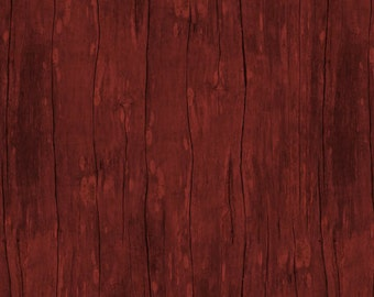 Wood Grain Fabric - From the Market Textured Wood - Janet Pugh for Wilmington 82420 333 Dark Red - Remnant 26 inches