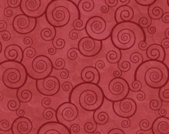 Harmony Blender Fabric - Curly Scroll by Quilting Treasures 24778 RT Red Paprika  - Priced by the 1/2 yard