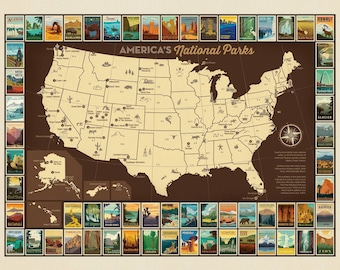 "National Parks Map Patch Poster - Anderson Design Group for Riley Blake P9157 - Priced by the Panel - 36""x44"""