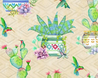Humming Bird Fabric - Cactus Fabric - Humming Along by Nancy Mink - Wilmington Prints - 33830 274 Cream - priced by the half yard