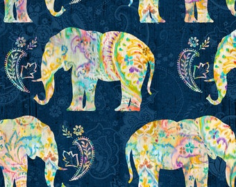 Bohemian Dreams Fabric - Elephants - Danhui Nai for Wilmington Prints - 89191 454 Blue - priced by the half yard