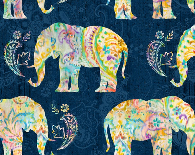 Featured listing image: Bohemian Dreams Fabric - Elephants - Danhui Nai for Wilmington Prints - 89191 454 Blue - priced by the half yard