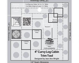 Curvy Log Cabin 4-InchTrim Ruler - Creative Grids by Jean Ann Wright CGRJAW6 - Acrylic