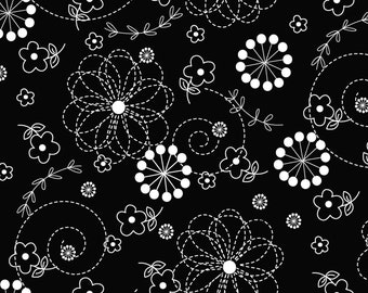 Black Floral - Geometric Doodle by Kimberbell Designs - Maywood Studio 8246 J Black & White -  Priced by the half yard