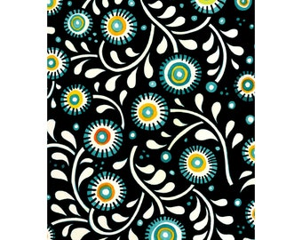 Floral Fabric - Flower & Vine - Hey Diddle Diddle - In The Beginning Julie Paschkis 6JPJ1 Black Multi - Priced by the 1/2 yard