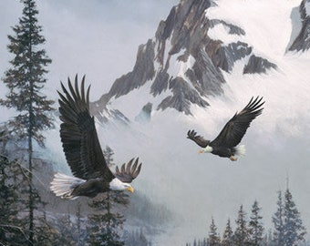 """When Eagles Soar - Snowy Mountain Eagle Pair - By D.R. Laird for Northcott 23039 94 - Priced by the Oversize Panel - 43""""x44"""""""