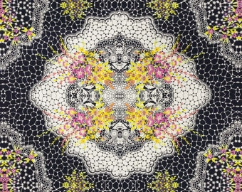 Floral Medallion Fabric - Banyan Batik - French Macaroon Northcott  80120 Black  - Priced by the  30-inch Panel