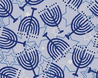 Menorah Fabric - Blue Holiday - Paintbrush Studio 72361 Blue - Priced by the half yard