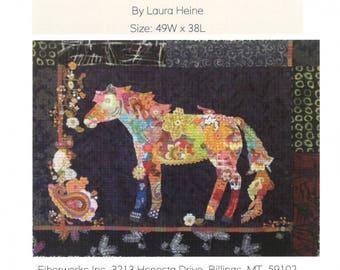 "Confetti Horse - Laura Heine - Applique Quilt - Horse quilt 49""x38"" - DIY Pattern Or Kit Option - full size reusable template pattern"