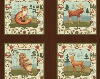Woodland Fabric, Animal Fabric - Wild Woods by Windham Fabric  4119 X - Priced by Panel