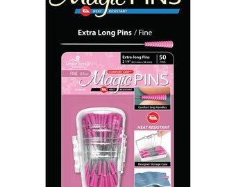 Magic Pins - extra long - Heat Resistant - Comfort Grip - 2.25-inch Fine .5mm x 56mm - 50ct  - Taylor Seville 19706