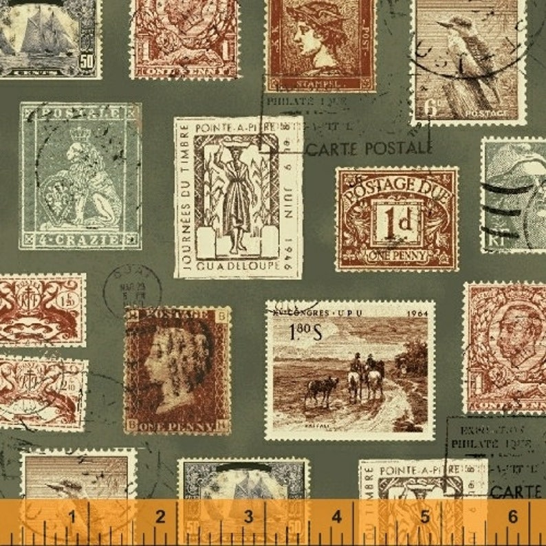 Postage Stamp Fabric Postmark Longfellow By Windham