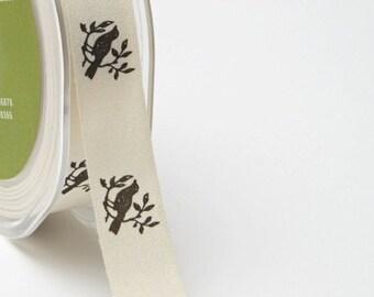 "Bird Print Ribbon - Ivory Canvas / Black 3/4"" Ribbon  413-34-10 -   Price per Yard"