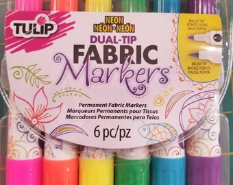 Tulip Fabric Markers 6-Pack - Dual Tip - Fabric Paint - Permanent Markers - Fabric Accent - Neon Double Tip 29094