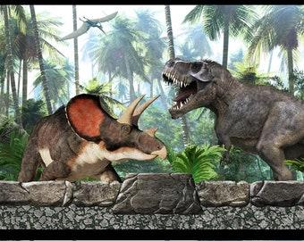 Jurassic Fabric - Dinosaur Border Stripe - T-Rex Fabric - In the Beginning Fabric - 3JUR1 - Priced by the 1/2 yard