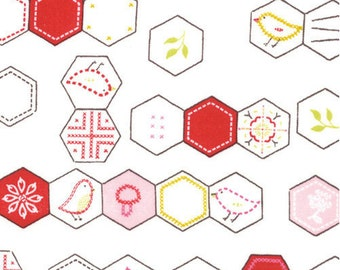 Sew Stitchy Hexagons Fabric by Aneela Hoey for Moda Fabrics 18542 11 Cotton (white) - Priced by the half yard