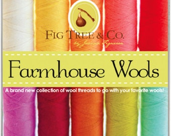 Aurifil 12wt Wool Thread - Farmhouse Fig Tree & Co -  Lana Embroidery and Quilting Thread 12 wt - 50% wool - 10-pack thread