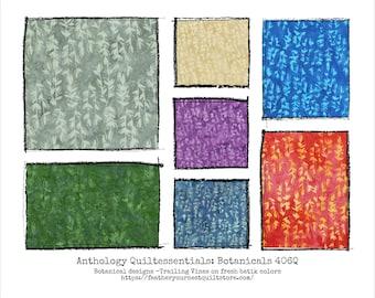Anthology Batik Fabric - Quiltessentials: Botanicals 406Q - Trailing Vine Leaf Design - Choose color -  Priced by the 1/2 yard