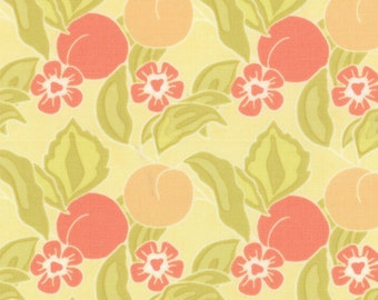 Orchard Peach Fabric - Mirabelle Floral Orchard by Fig Tree & Co for Moda Fabrics 20221 15 Sunshine - 1/2 Yard