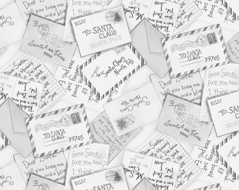 All the Trimmings Santa Letters - Letters to Santa - Maywood Studios 9373 Gray or Beige - Priced by the 1/2 yard
