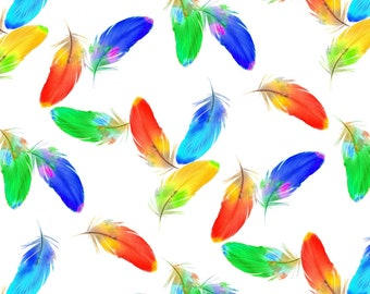 Feather Print Fabric - Birds in Paradise collection by Lisa Sparling for Henry Glass -9082 01 White Multi - Priced by the 1/2 yard